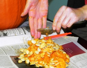 Pumpkin pulp should never be pushed down the drain